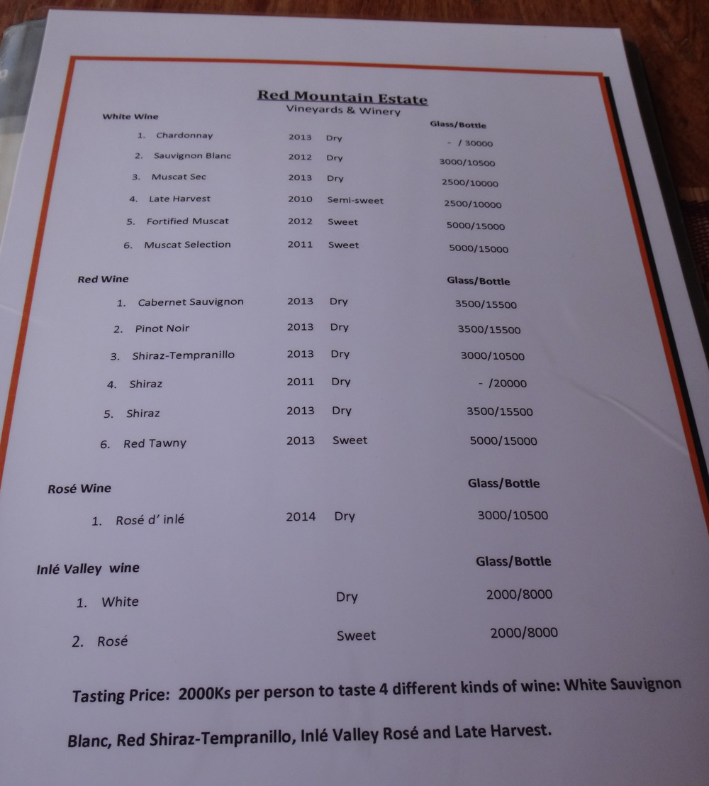 The wine menu at Red Mountain Estate