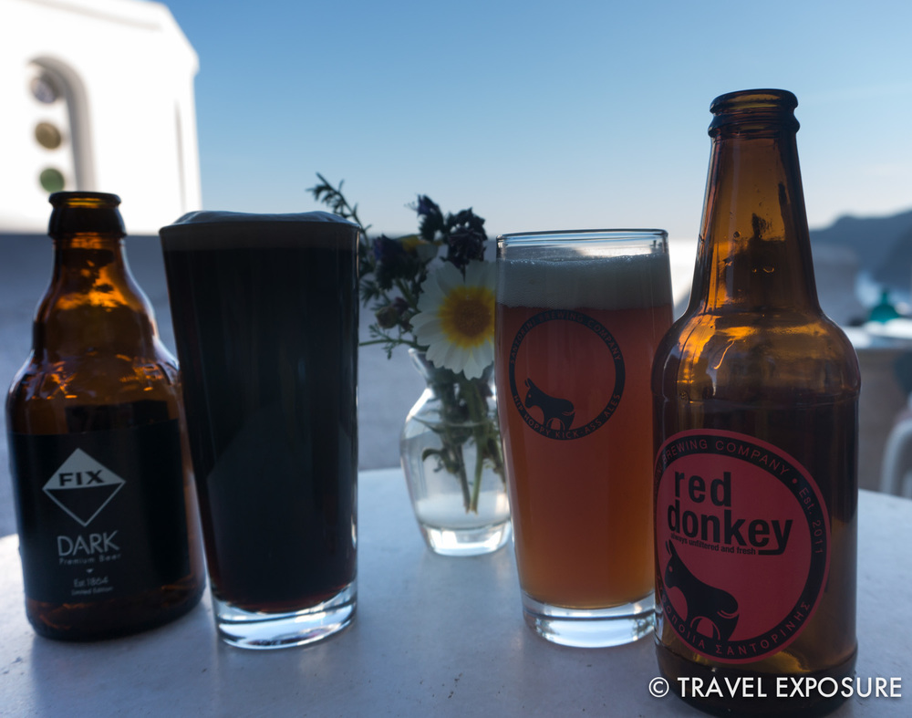 In Santorini, a decent dark beer and a lovely red