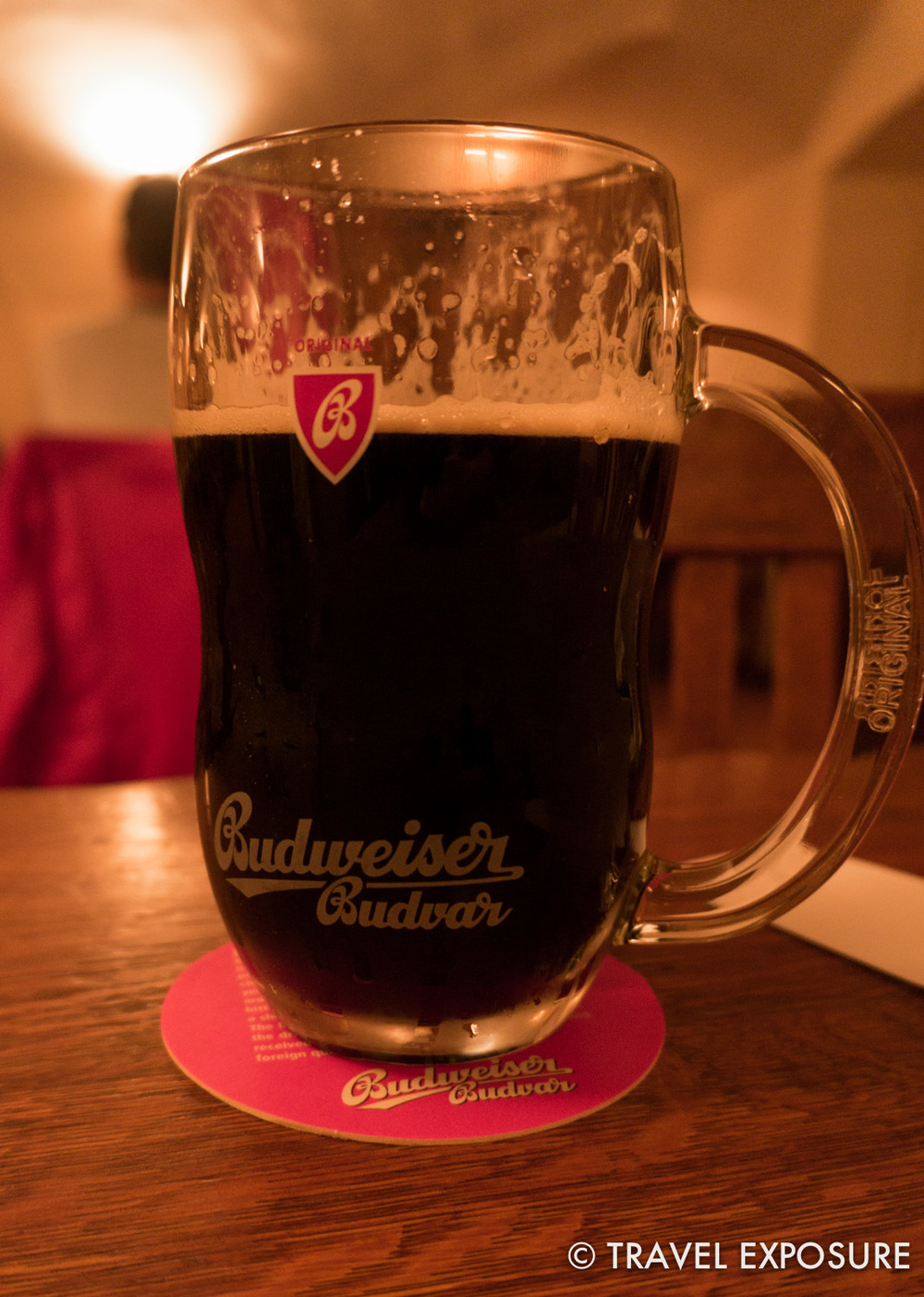 Budvar dark draft (actually a very light beer) at a pub established in 1466 in Prague