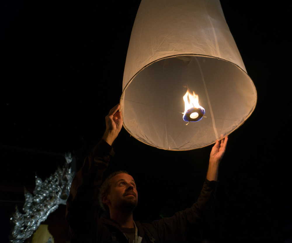 Sky lanterns are like small hot air balloons…you wait until they fill with smoky hot air and then simply let go!