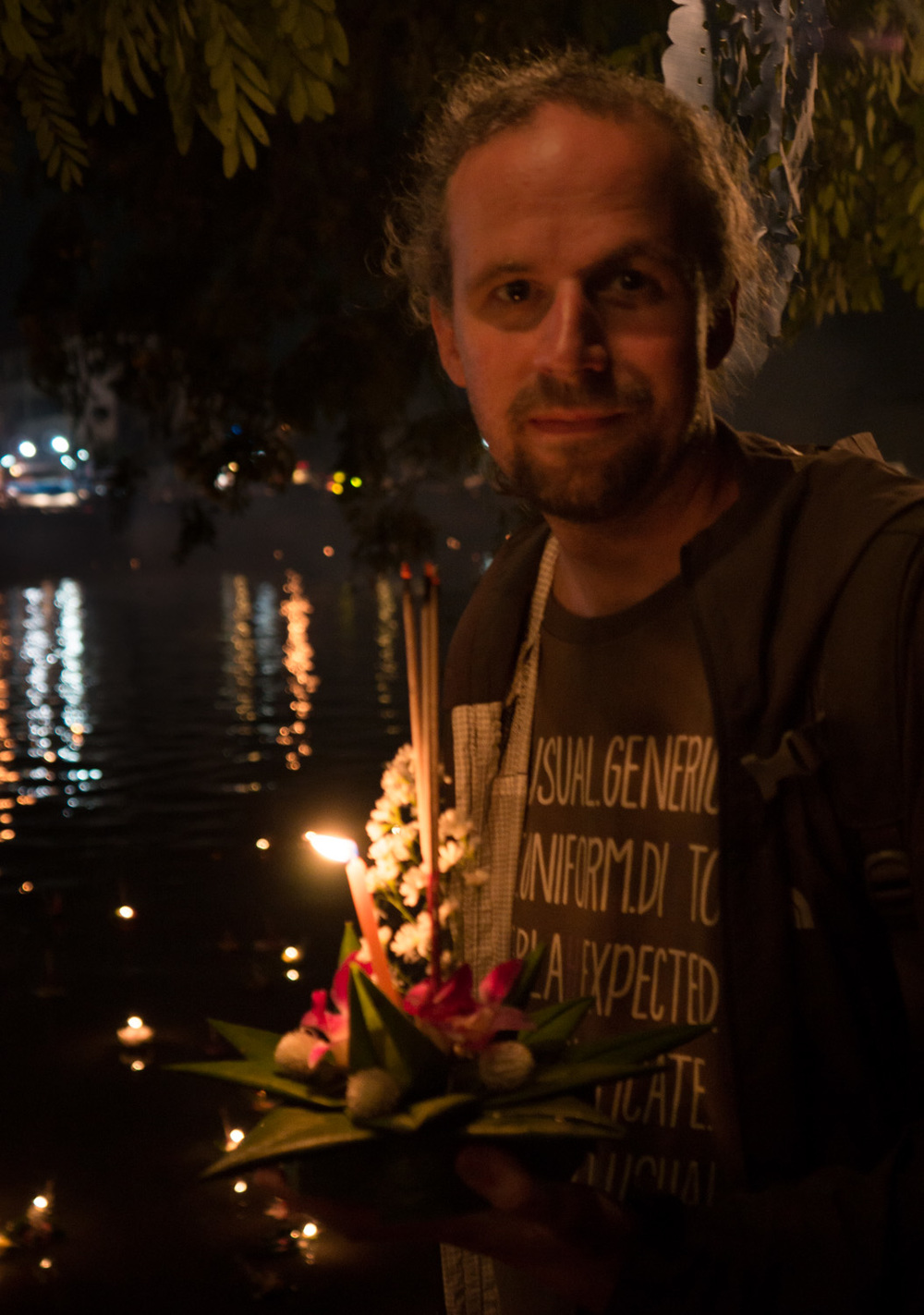 The krathong we placed in the river. Krathongs and sky lanterns symbolize the drifting away of bad luck and misfortune and signal a fresh start.