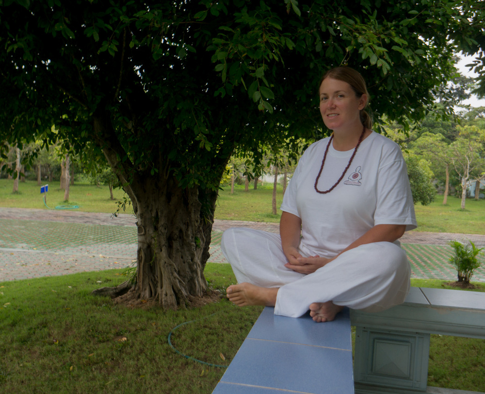 At the meditation retreat - everyone wears all white.