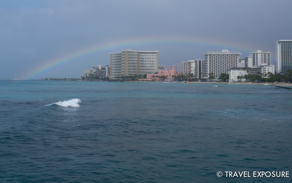 A rainbow in Waikiki Beach, Honolulu, Hawaii