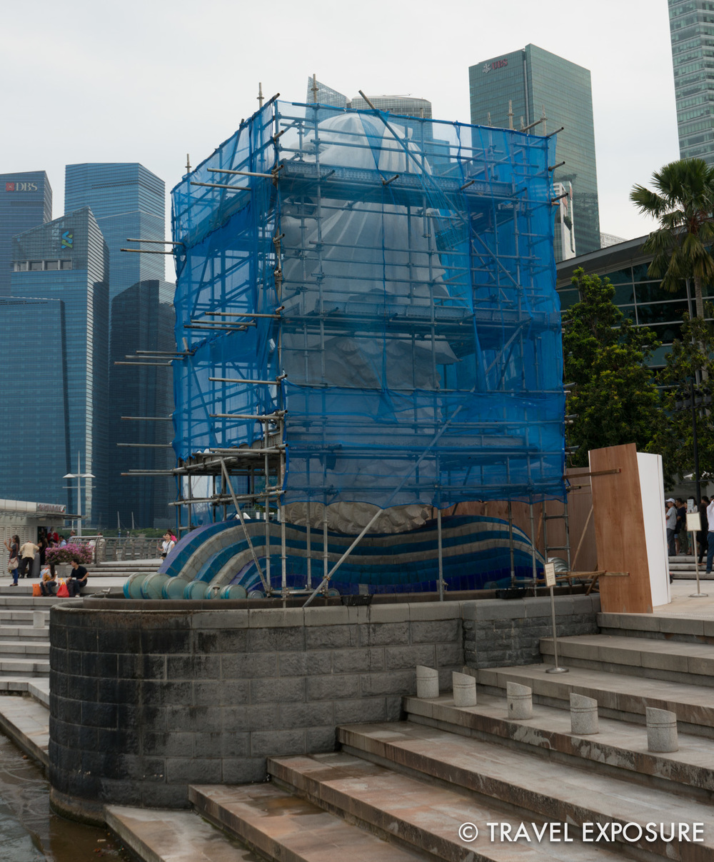 Singapore's most famous icon is the half-lion, half-fish Merlion, seen here under renovation
