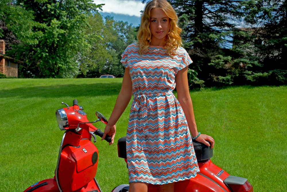 zigzag dress on scooter.jpg