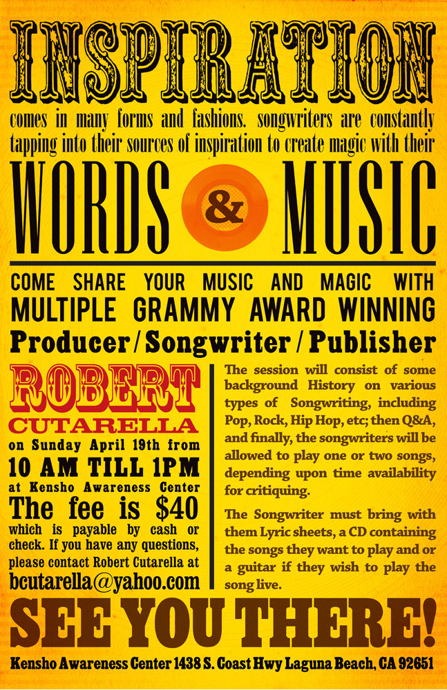 Bob Cutarella Words & Music Workshop