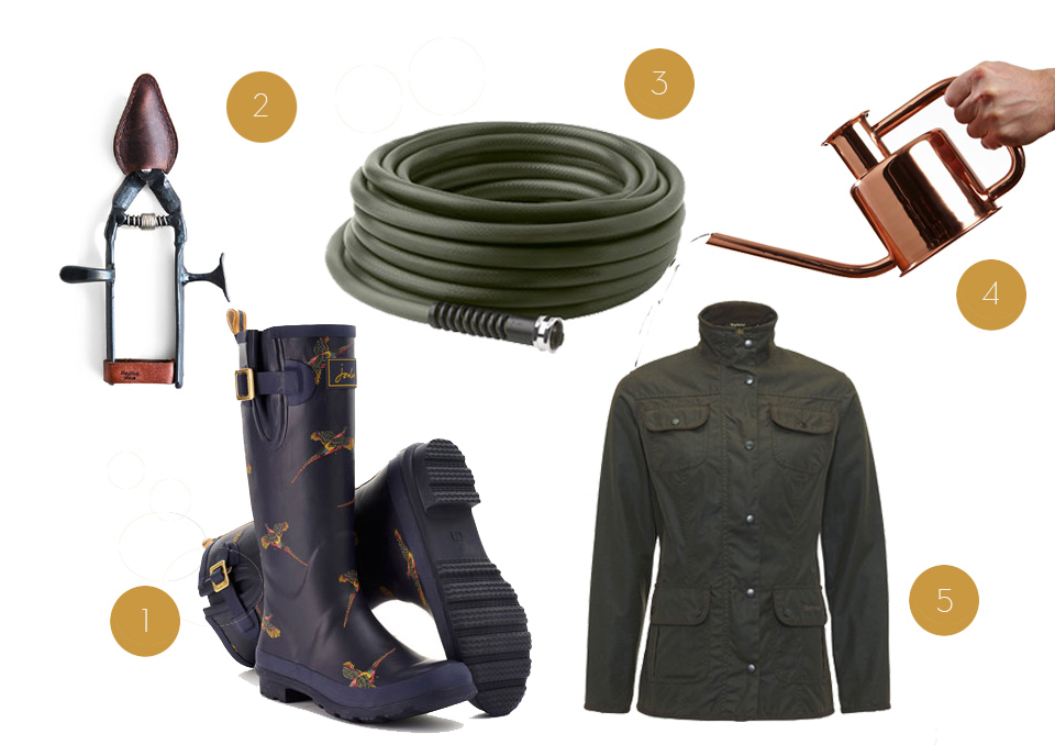 / 1 / Joules Rain Boots in Navy Pheasent  / 2 /  Hand-Foraged Japanese Garden clippers  / 3 / Featherweight Garden hose  / 4 / Paul Loebach Watering can  / 5 / Barbour Waxed Utility Jacket