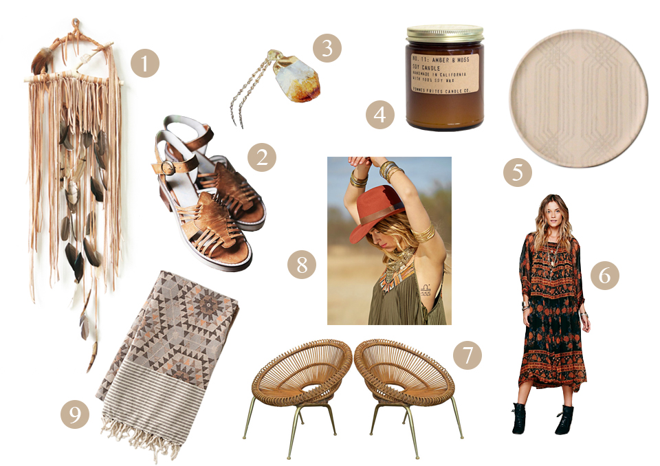 / 1 / Electric Love dream catchers  / 2 /  huarache sandals  / 3 / Geode necklace via Gossamer & Violet  / 4 / Pommes Frites amber & moss soy candle  / 5 / The Vintage Vogue's hand drawn trays  / 6 / Smock dresses  / 7 / Pair o' chairs  / 8 / Floppy hats  / 9 / Honeycomb cotton throw