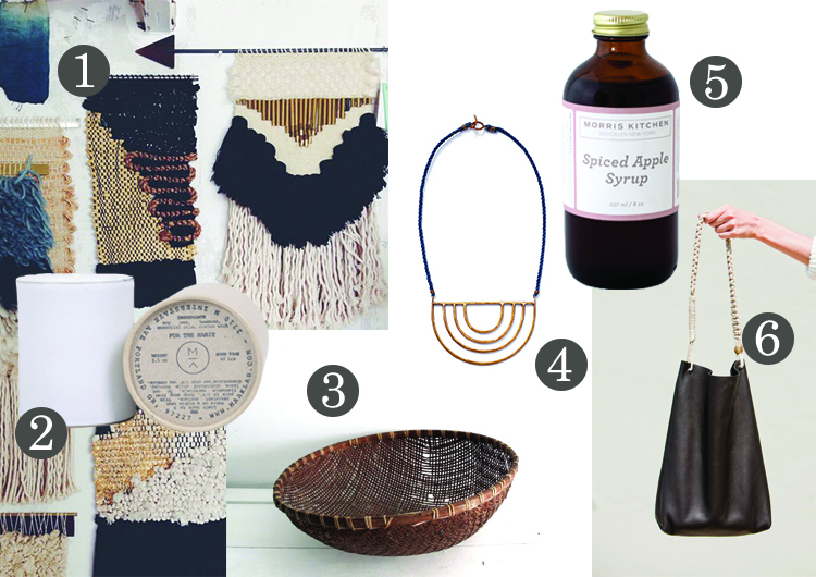 / 1 / Woven taperestries / 2 /   Maak White Cedar Candle  / 3 /  Hand-woven baskets   / 4 /  Tiro Tiro Porta Necklace  / 5 /  Morris Kitchen's Spiced Apple Syrup  / 6 /  Cold Picnic's Malpais Tote