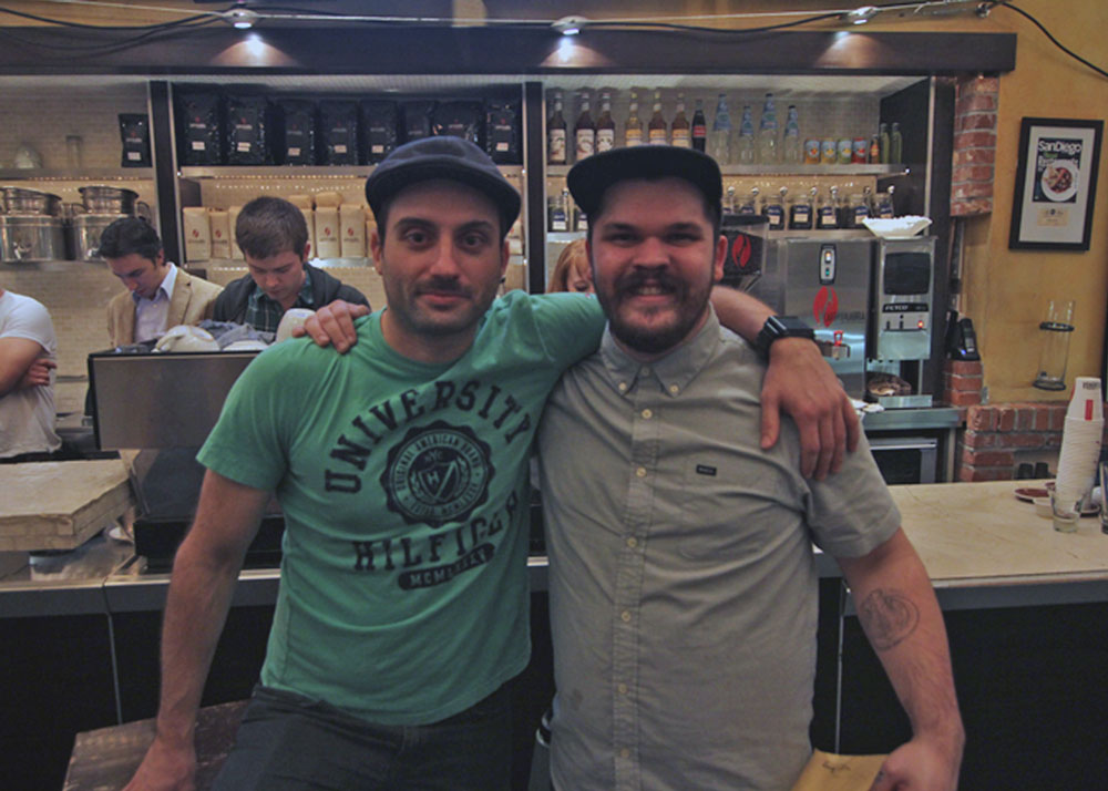 Joshua D. Bonner (on right) with Anton Dimov (left) of Caffe Calabria who placed 2nd at Tuesday's SDTNT.