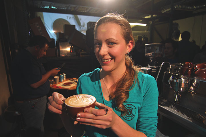 Vanessa Lovel of  Cafe Virtuoso  showing off her winning Rosetta. Photo by Jared Armijo-Wardle.