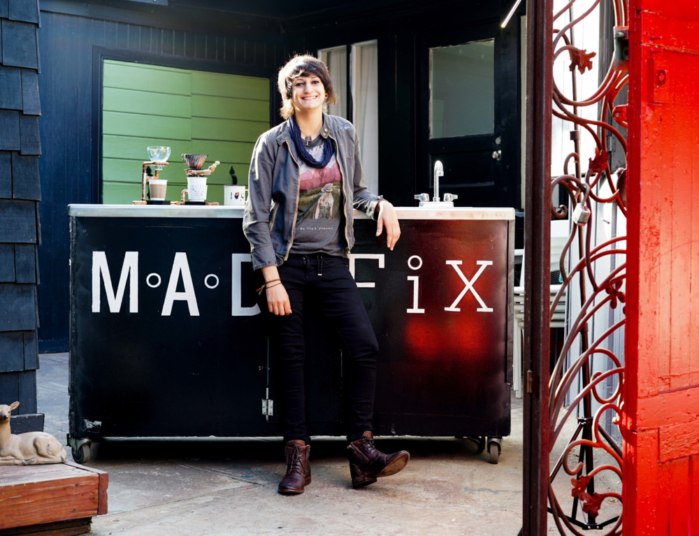 Dottie Necool, Co-owner of M.A.D. FiX, posing at the cafe's courtyard. Photo by Jose Lopez.