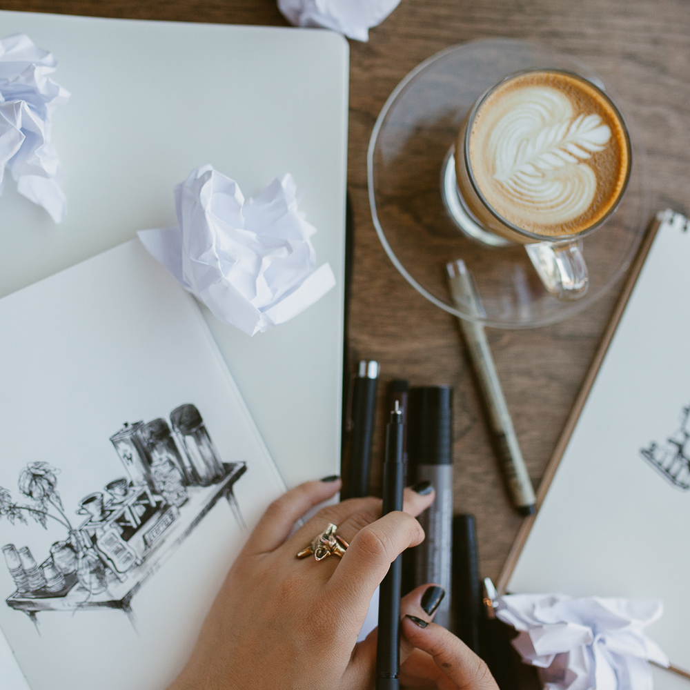 Sketching away at Holsem Coffee. Photo by Julie Rings. Location: Holsem Coffee.