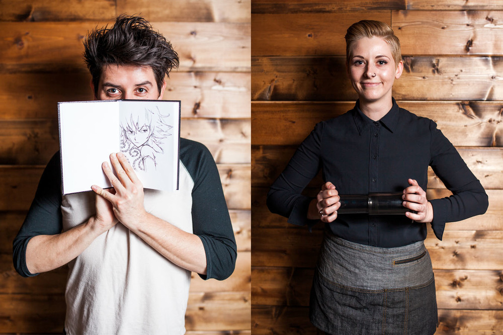 Photos by Julie Rings.  James Davalos, Aussie Bean: His latte-art and sketching are mediums that influence each other.  Kat Adams, Aussie Bean: An AeroPress makes for a great clutch.