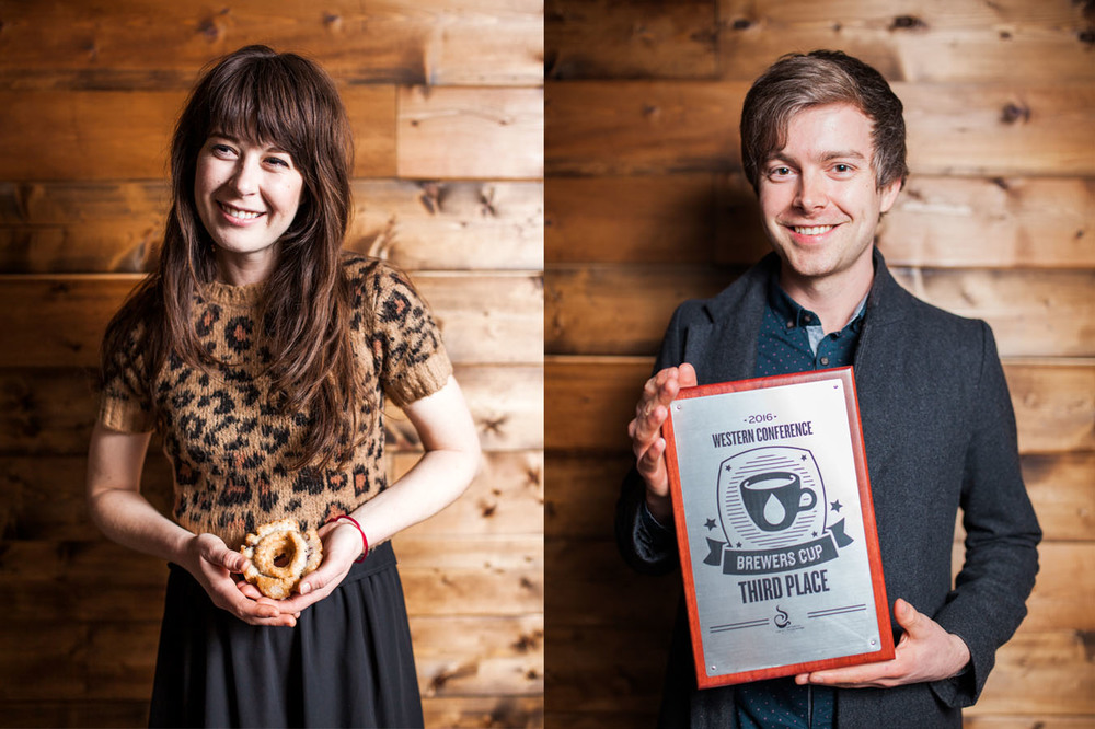 Photos by Julie Rings.  Lindsey Vargo, Bird Rock Coffee Roasters: She might like donuts more than they like her.  Jacob White, Bird Rock Coffee Roasters: Totally stole that plaque, I don't see his name on it.