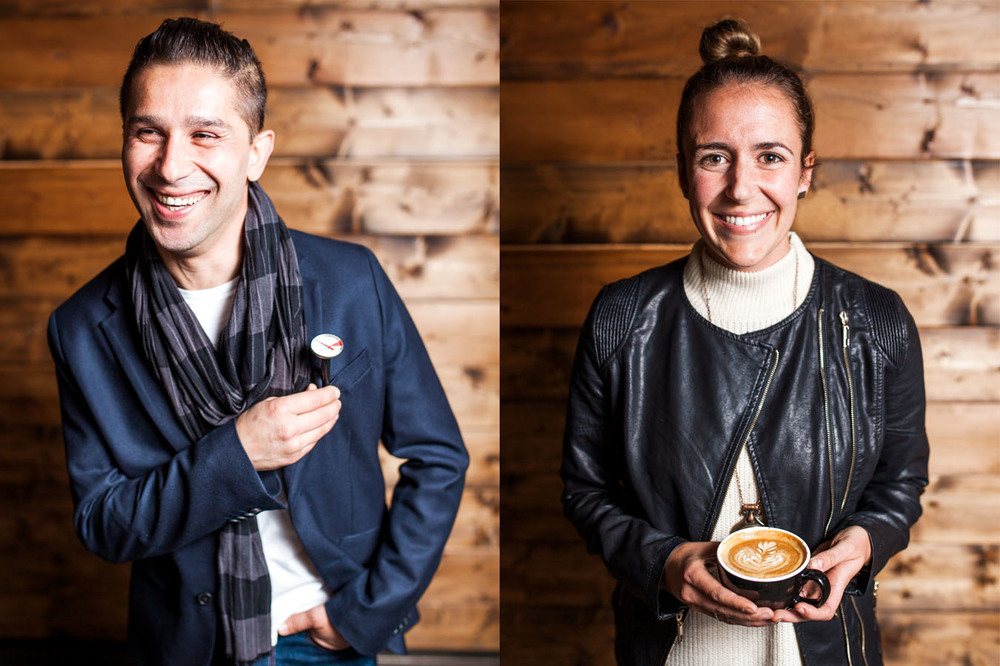Photos by  Julie Rings .   Max Damitrov, Bird Rock Coffee Roasters: He'd love to check your temperature.  Carrie Anne Saccone, Bird Rock Coffee Roasters: Rosettas are her thing.
