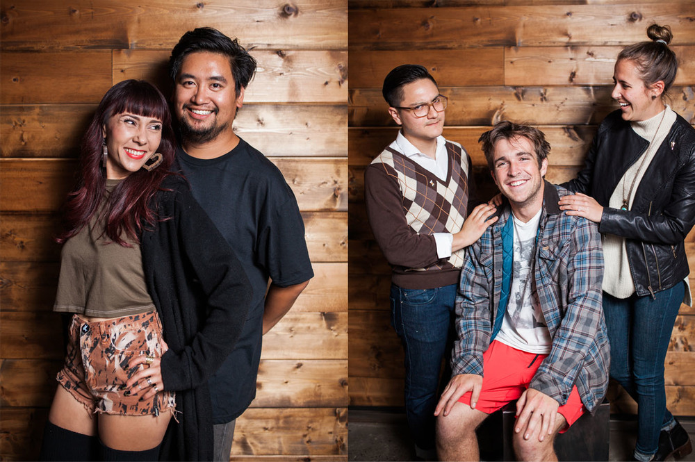Photos by  Julie Rings .   From Left to right:   Manilla Fever  by Jocylynn Breeland, Bird Rock Coffee Roasters & Marcel Reyes, SDCN Blog Senior Editor.    A Family Portrait  by Pablo Lara as the stern father, Aaron Bledsoe as the prodigal son and Carrie Anne Saccone as the loving mother.