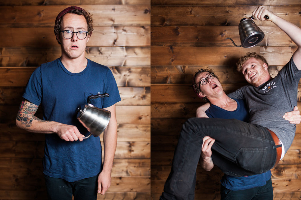 Photos by Julie Rings.  Kaleb Ede, James Coffee Co: That kettle did not have hot water. Ewan Bennie, James Coffee Co: He probably wished there was hot water in the kettle.