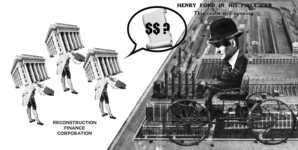 Act 1 Scene 2  Major Detroit banks were on the verge of failure so they asked Ford to subordinate some of his owed amount for a new loan from the Reconstruction Finance Corporation.