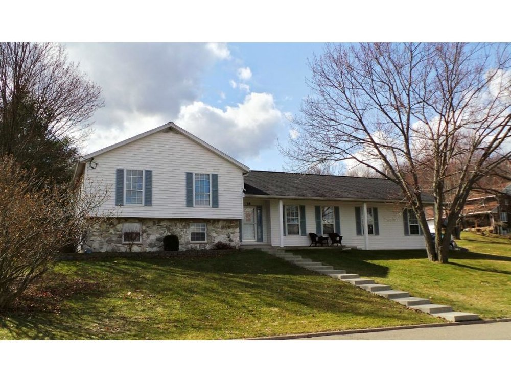 An updated large split-level home on a corner lot.