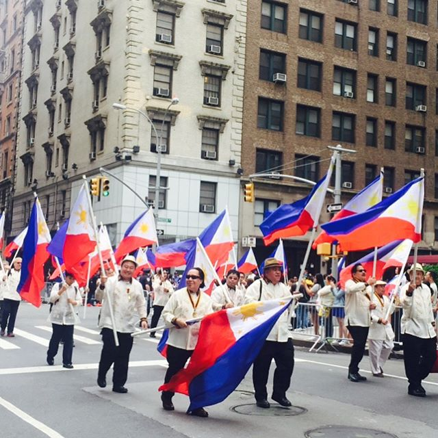 #Mabuhay! From the Philippine Independence Day parade. Some of the colorful costumes from the 7,107 islands that make up the Philippines 🇵🇭 #philippineindependence #nyc #proudpinoy #lilyandeve #believeinbold #parade