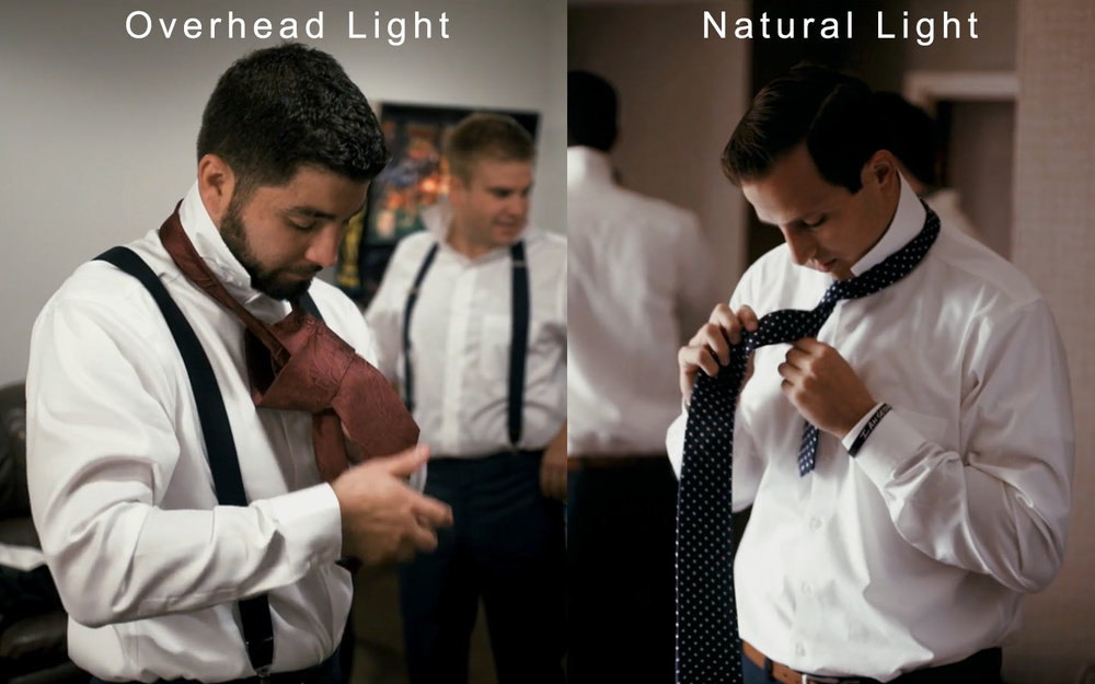 natural light vs overhead light wedding video.jpg