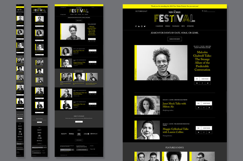 The advertising team worked closely with the editorial team of  The New Yorker  to ensure consistent branding and layout design for desktop, tablet, and mobile on the 2018 Festival site.