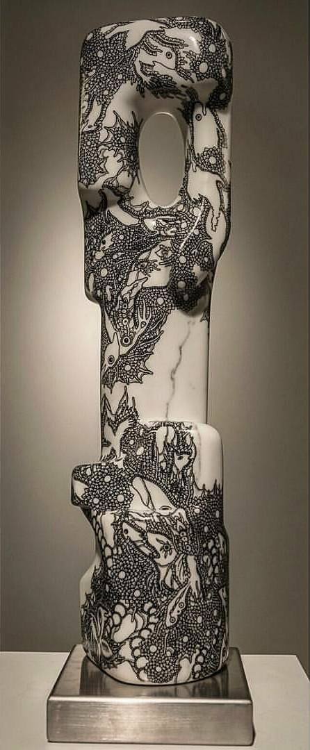 Love Totem (2015), Ink on marble Collaboration with Fernando Heras Castan