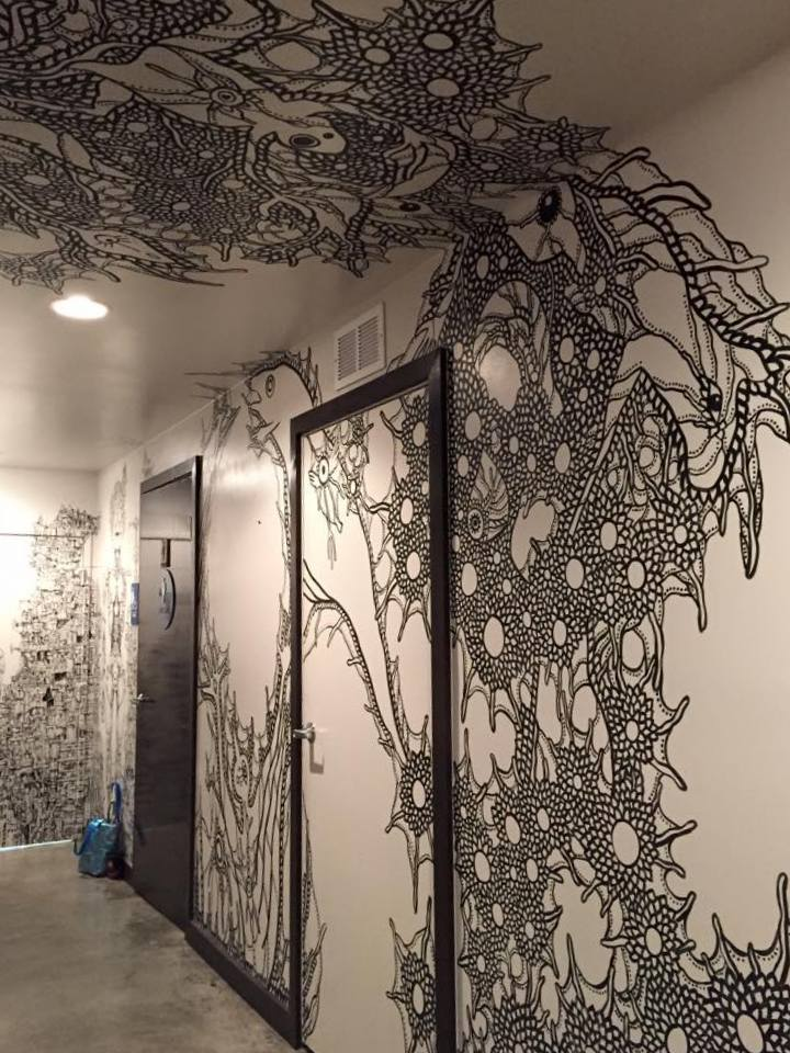 Tunnel of Me (2015) Mural at Manichi Ramen, Los Angeles