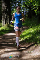 Descending Dimple Hill. I am so soaked with sweat that my skirt is sagging (photo by Long Run Pictures).