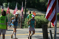 Sarah and me running in to Highway 49.