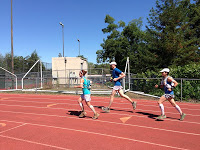 Running onto Placer Field with Sarah and Adam.