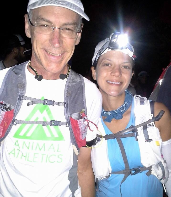 Larry and me at the start line of P2P100 (2014).