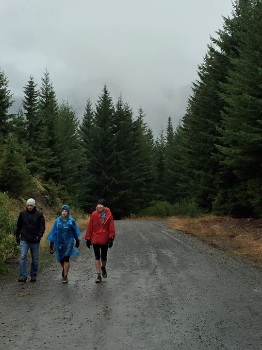 Jeremy, Sarah, and me climbing from Mineral Creek to the car (photo by Eric Lubell).