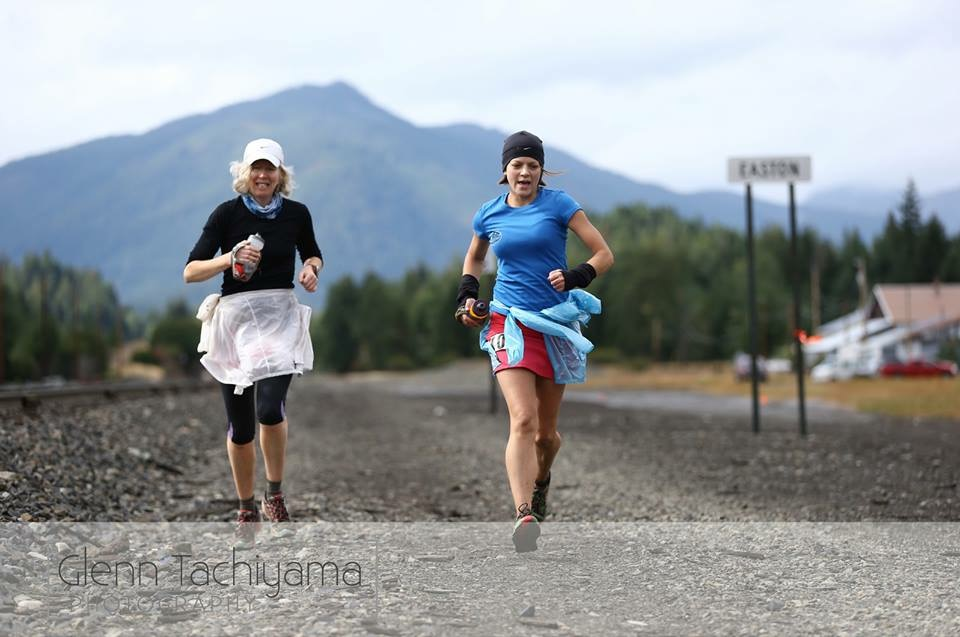 If a picture could write a blog... Sarah and me running to the finish line (photo by Glenn Tachiyama).