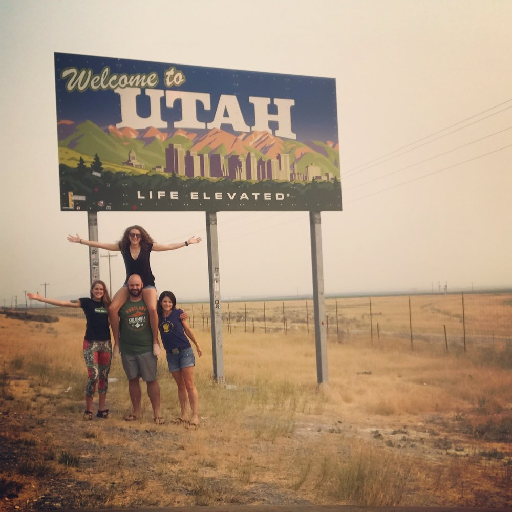 Amy, Justin, Aly, and me entering Utah.