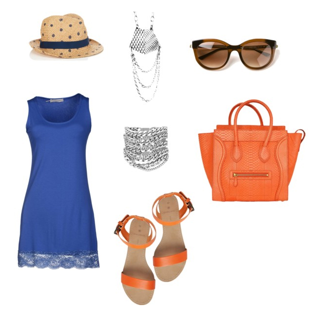Blue and Orange Summer Outfit