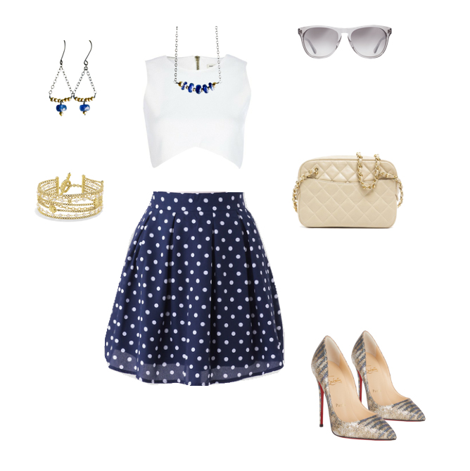 navy and white polka dot outfit