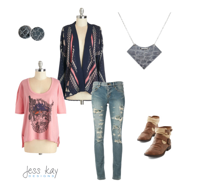 Boho winter outfit pink navy