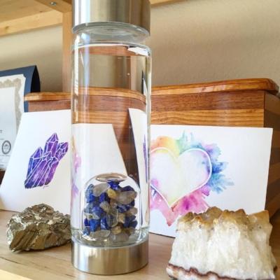 Inspiration Vitajuwel bottle Jess Kay Designs watercolor crystal healing
