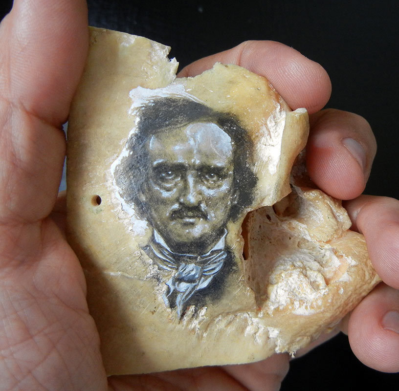 edgar allan poe on human skull fragment
