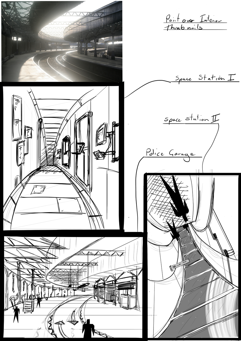 Some rough thumbnails for an internal environment.