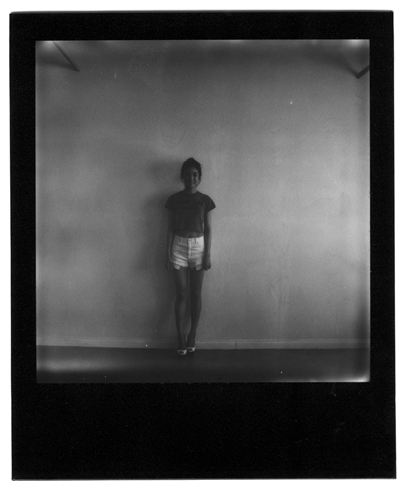 Susan on B&W black frame edition Impossible Project 600-type Polaroid film / Polaroid 680