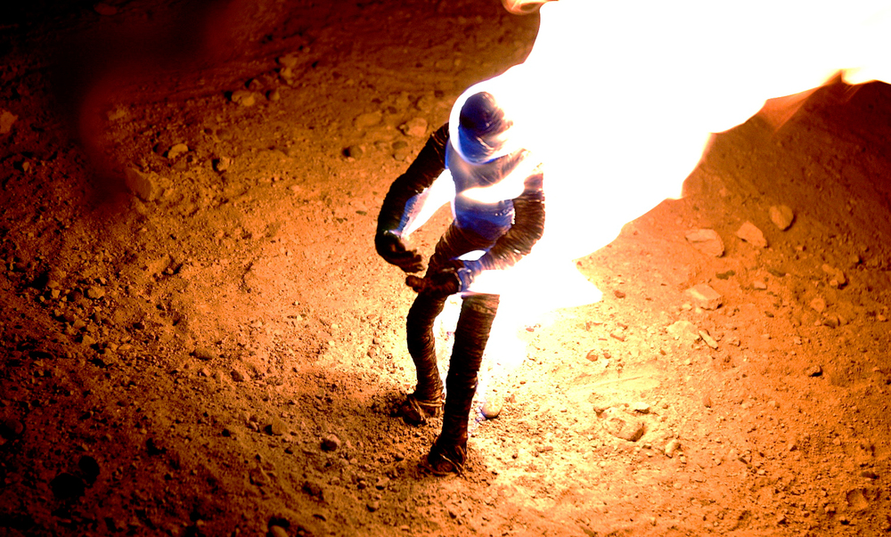 The fire animation was achieved lighting the puppet on for short periods of time.