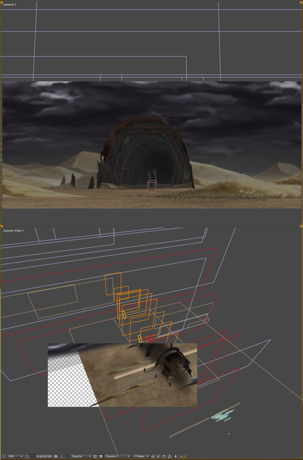 Early stages of a comp. The layers create a 3d Depth from the choosen camera angle.
