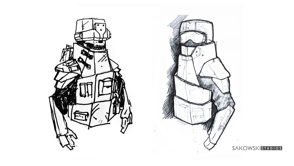 These design above were done during the construction process. After building the cardboard prototype we addressed questions such as, can you see your feet? so I added an extra jaw plate that in the real world would swivel up and down as the soldier moved his head. The system needs further refinement.