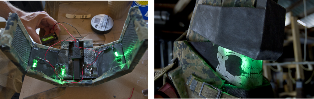 Craig smith helped wire up some practical lights to give the visor a classic night vision look.