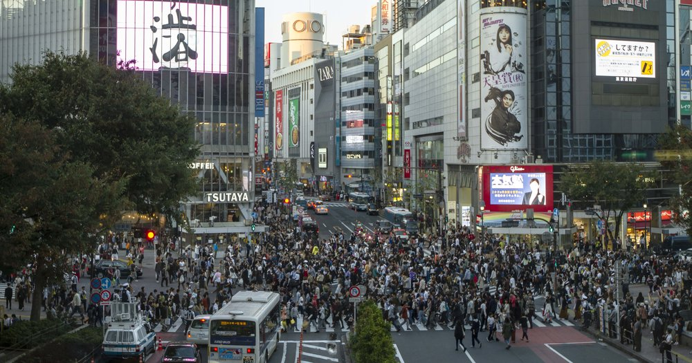 Shibuya Crossing from the train station.