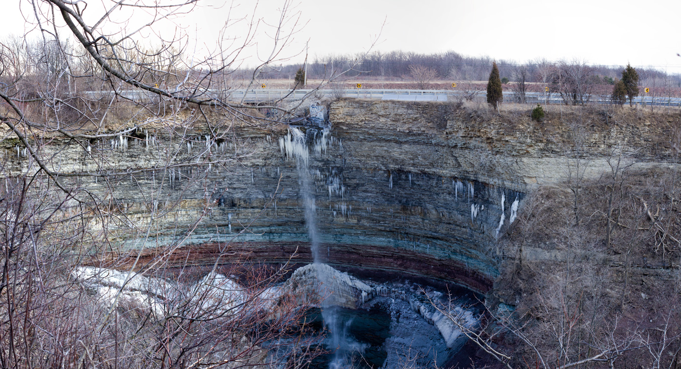 Apparently quite a fall when the water is flowing.  This panorama was taken on a cold early spring evening.