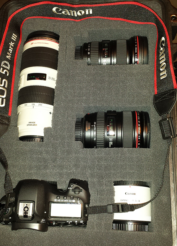 My camera gear, safely stowed away.